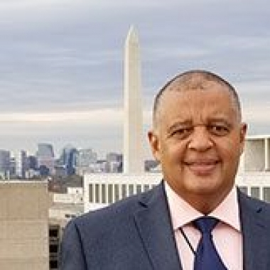 Mike Reese with the Washington Monument in the background