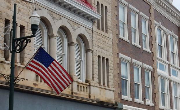 American flag on city lamppost