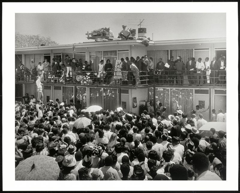 Crowd outside Lorraine Motel after the assassination of Dr. Martin Luther King, Jr.