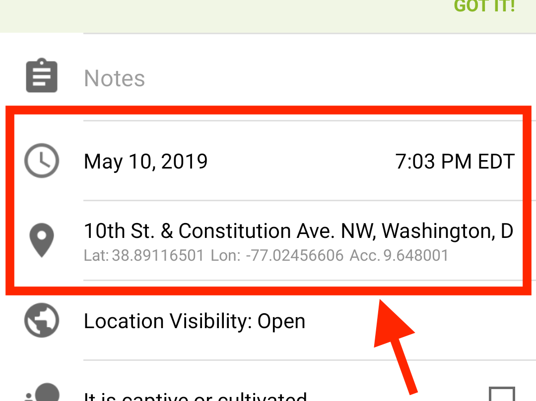 The date, time, and location fields will self-populate based on your current time and location or metadata associated with the uploaded photo.  You can manually update any field by pressing it.