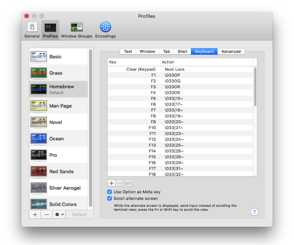 Screen capture of menu where users select keyboard options