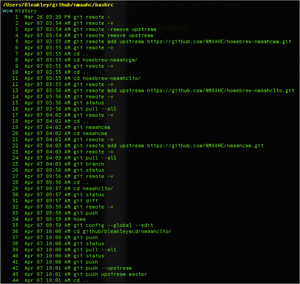 Screen capture of Terminal window with results of the command
